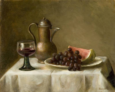 Painting - Watermelon And Grapes by Thimgan Hayden