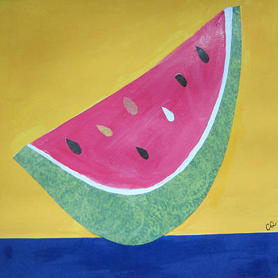 Watermelon Mixed Media - Watermelon by Christine Quimby