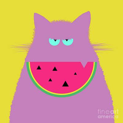Watermelon Digital Art - Watermelon Lilac Cat by Zaira Dzhaubaeva