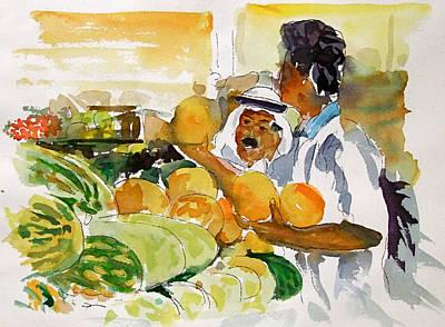 Watermelon Man Art Print by Mike Shepley DA Edin