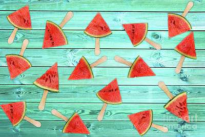 Photograph - Watermelon Popsicles On Blue by Delphimages Photo Creations