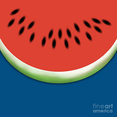 Hot Dogs Digital Art - Watermelon Slice - Blue Background by Jason Freedman