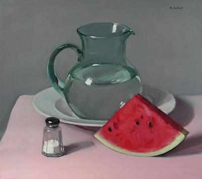 Painting - Watermelon, Water Pitcher And Salt Shaker by Robert Holden