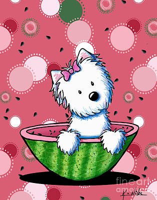 Watermelon Westie Girl Art Print by Kim Niles