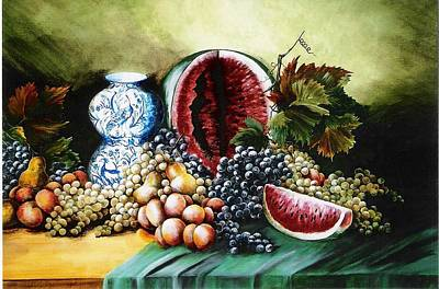 Watermelon With Blue Delft Jar Art Print