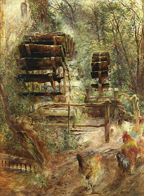 Water Mill Painting - Watermill At Rossett, North Wales by William Huggins