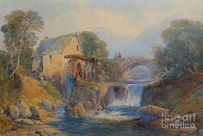Charles Bridge Painting - Watermill In A Welsh Landscape by MotionAge Designs