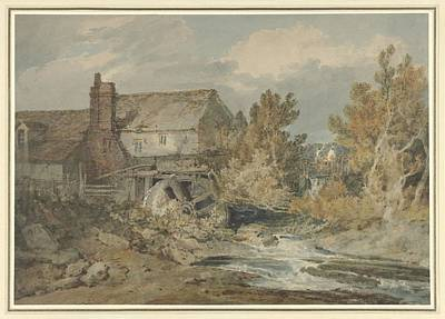 Painting - Watermill Near A Flowing Brook, Joseph Mallord William Turner, 1795 - 1797 by Celestial Images
