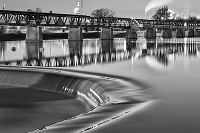Photograph - Silk Waters - Tulsa's 21st Street Bridge In Black And White by Gregory Ballos