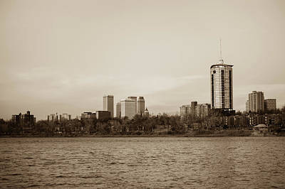Photograph - Waters Under The Tulsa Skyline - Sepia by Gregory Ballos