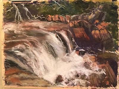 Waterton Canada Waterfall Original by Julia Komsky