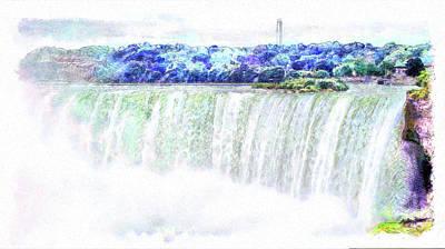 Digital Art - Waterwall - Horseshoe Falls by Leslie Montgomery