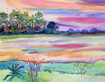 Waterway Dawn Art Print by Barbara Jung
