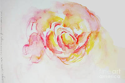 Painting - Watery Peach Rose Watercolour by CheyAnne Sexton