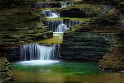 Watkins Glen New York Waterfall Print by Bill Wakeley