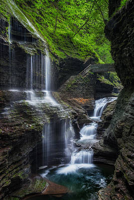 Watkins Glen Rainbow Falls 2013 Art Print by Bill Wakeley