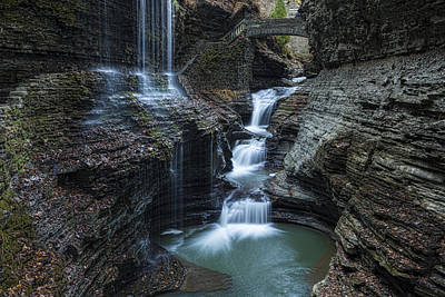 Fall Foliage New York Wall Art - Photograph - Watkins Glen Rainbow Falls by Stephen Stookey