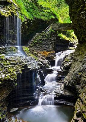 Seneca Lake Photograph - Watkins Glen State Park Feature Falls by Frozen in Time Fine Art Photography