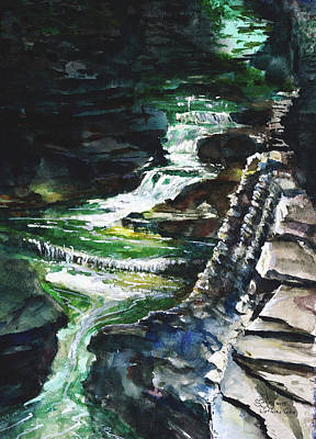 Donny Painting - Watkin's Glen Waterfall by Don Seib
