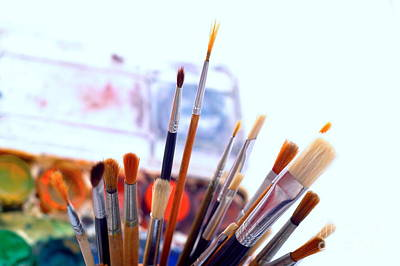 Paintbox Photograph - Watercolor Brushes by Dariusz Gudowicz
