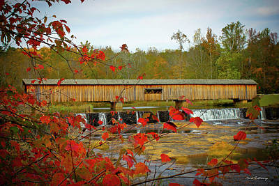 Reid Park Photograph - Watson Mill Covered Bridge Autumn by Reid Callaway