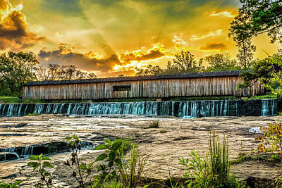 Photograph - Watson Mill Covered Bridge by Michael Sussman