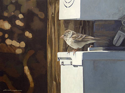 Peter Muzyka Wall Art - Painting - Watt A Bird by Peter Muzyka
