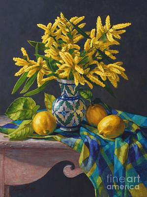 Australian Flowers Painting - Wattle And Lemons by Fiona Craig