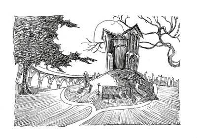 Headstones Drawing - Watts Cemetery by Nazli Oluz