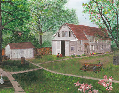 Busches Painting - Waubeesee Lake Cottage by Lori  Theim-Busch