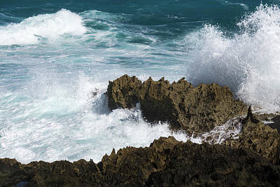 Photograph - Wave Action - Jagged Lava Rocks And Spume - Act One by Georgia Mizuleva