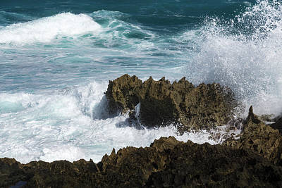 Photograph - Wave Action - Jagged Lava Rocks And Spume - Act Two by Georgia Mizuleva