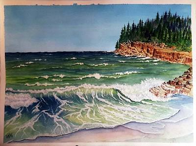 Painting - Wave And Rocks Sold by Richard Benson