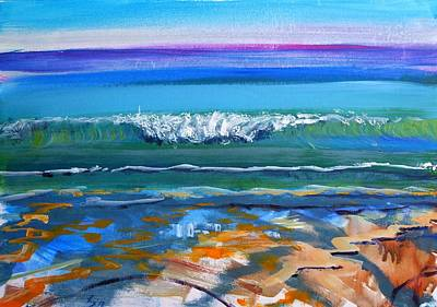 Painting - Wave At Fistral Beach In Cornwall by Mike Jory