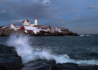 Photograph - Wave Crash And The Nubble, Cape Neddick, York, Maine 21089-21093 by John Bald