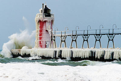Waves Crashing Photograph - Wave Crashing On Snow-covered South by Panoramic Images