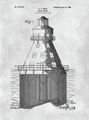 Lighthouse Drawing - Wave Motor Patent by Dan Sproul