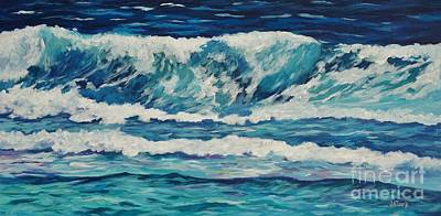 Caribbean Sea Painting - Wave Off Prospect Reef by John Clark