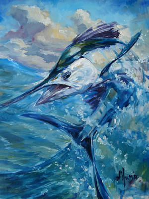 Sailfish Painting - Wave Runner by Tom Dauria