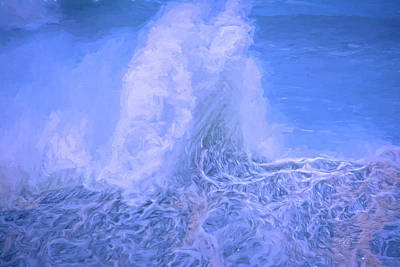 Digital Art - Wave Stand Painted Blue by Bill Posner