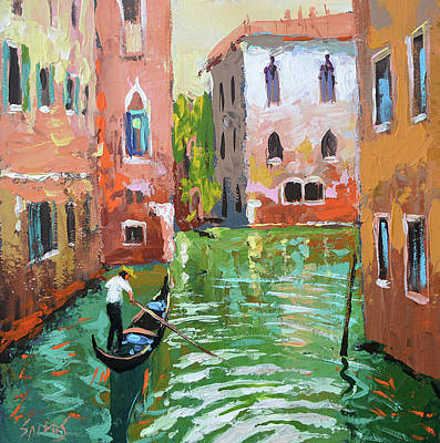 Painting - Wave Under The Oars Of The Gondola. by Dmitry Spiros