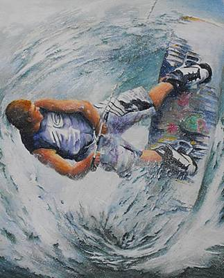Wakeboard Painting - Wave Warrior by Debra  Bannister