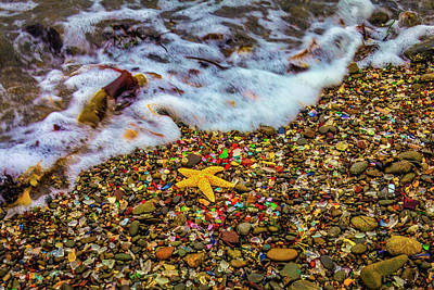 Photograph - Wave Washing Over Starfish by Garry Gay