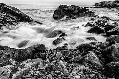 Waves Against A Rocky Shore In Bw Art Print