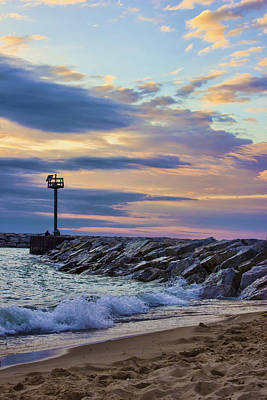 Photograph - Waves Against The Jetty by Ron Grafe