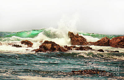 Photograph - Waves Against The Rocks In Pacific Grove California by Artist and Photographer Laura Wrede