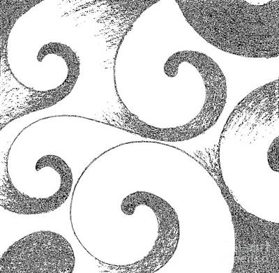 Nature Study Digital Art - Waves Altered In Black And White by Helena Tiainen