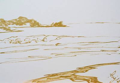 Drawing - Waves And Cliffs At Fistral Beach by Mike Jory
