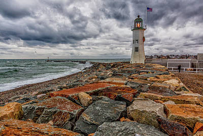 Photograph - Waves And Clouds At Old Scituate Lighthouse by Brian MacLean