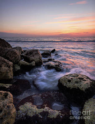 Photograph - Waves And Coquina Rocks, Captiva Island, Florida  -80082-80084 by John Bald
